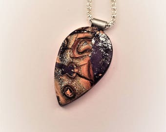 Mokume Gane Polymer clay pendant, metallics, tear drop, abstract and modern,