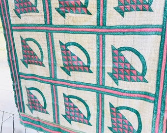 """Quilt Antique Hand made hand stitched quilt 72"""" x 74"""" Friendship Basket Quilt Pink & Green late 1800's display farmhouse collectible cabin"""