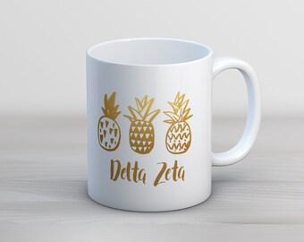 DZ Delta Zeta Faux Gold Foil Pineapple Mug Sorority Coffee Mug