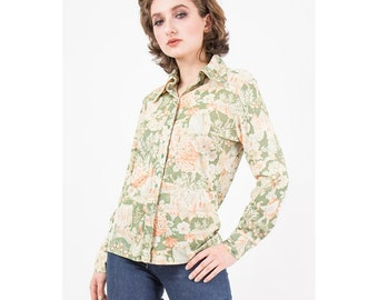 Vintage novelty print disco shirt / 1970s Tudor print / Fairy tale castles / Ladyhawke / Slinky sheer button up / Lords and Ladies / M
