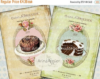 SALE 40% OFF - CARDS Shabby Chic French Patisserie - Large Images - Backgrounds - 5x7 inch - Digital Print - to print on- Tote, Bags, t-shir