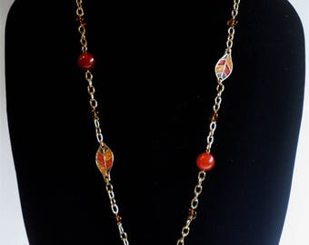 1970's Enamel Leaf and Bead Necklace