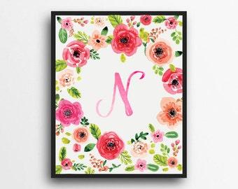 Monogram Letter N Print | Floral Wreath Monogram | Initial Print | Watercolor Floral Print | Digital Download