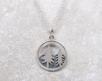 Tree & Mountain Pendant Necklace - Silver Necklace - Outdoors Jewelry - Hiker Jewelry