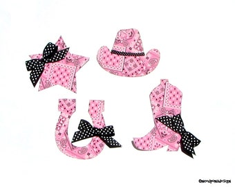 Western Theme// Baby Shower Applique Set//Girl//Fabric Iron On Appliques//Set Of Four//Bows Included