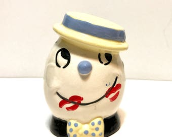 Vintage Cleminsons EggHead Egg Timer Kitchen Hour Glass Sand Timer. Cold painted kisses c 1940