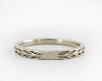 2mm White Gold Wedding Band   Arrow Wedding Band   Eco friendly Wedding Ring   Very Narrow Arrow Ring 14k Gold