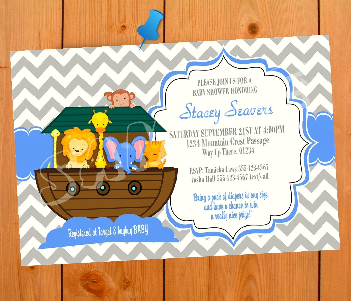 Noah\'s Ark Baby shower Invitation Boy Girl Boy Baby