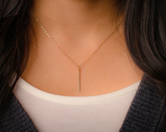Vertical Bar Drop Necklace - Dainty 14k Gold Filled Simple Bar Necklace - Minimal Layering Thin Bar