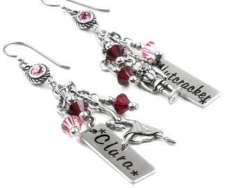 Engraved Nutcracker Earrings for Christmas in red and pink crystals with Clara and Nutcracker charms