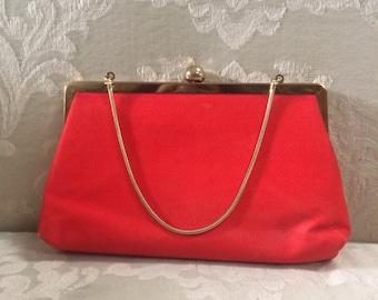 Vintage Satin Clutch, Red Clutch, Red Satin Clutch, Red Evening Bag, Vintage Red Bag, Evening Bags, Clutches, Satin Clutch, Red Purse