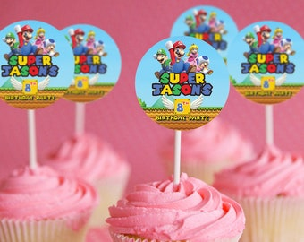 Super Mario Party Supplies | Super Mario Cupcake Toppers | Super Mario Party Favors | Birthday Decorations | Super Mario For Girl| For Boy