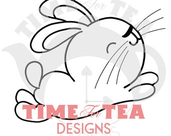 Dont Worry Be Hoppy Digital Stamp, Line Drawing Illustration, Paper Craft, Adult Colouring, card making, Easter, Bunnies.