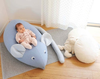 Huge Beanbag Nursery baby pillow Mocha green leaf baby