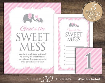 Instant Download Pink Elephant Baby Shower Candy Bar Game, Pink Grey  Elephant Dirty Diaper, Girl Guess The Sweet Mess Baby Shower Game 22B