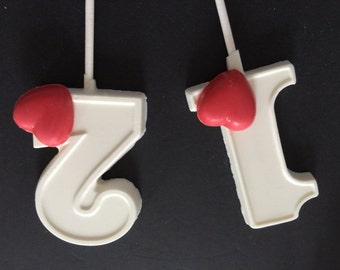"""Numbered """"HEARTS"""" Chocolate Lollipops - (1-6 Available)(12 qty) Hearts/Party Favors/Birthday Party Favors/Children's Heart Party"""