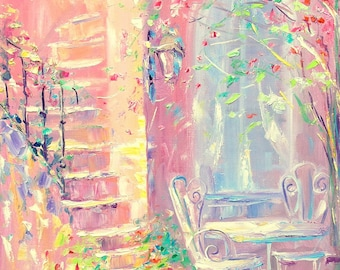Sweet summer, Patio, Bright painting, Flowers, Roses, Pink, Shabby chic, Painting, Home decor, Palette knife, Wall decor, Best gift, Fine