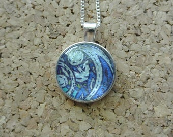 Blue Paisley Pendant Necklace