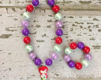 Ariel Birthday Party - The Little Mermaid Chunky Necklace - Ariel Chunky Necklace - The Little Mermaid Necklace - Little Girl Jewelry -