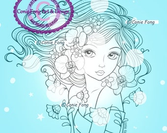 Digital Stamp, Digi Stamp, digistamp,  Moonflower Lullaby by Conie Fong, Orchid, Girl, Coloring Page, flower, scrapbooking
