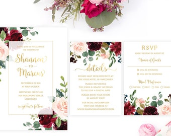Marsala Wedding Invitation Set, Printable Burgundy Wedding Invitation Suite, Floral Wedding Invitation Template, Watercolor Wedding Invite