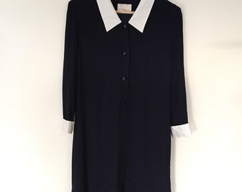 Vintage Japanese Dress / Navy Blue Dress w White Cuffs and Collar