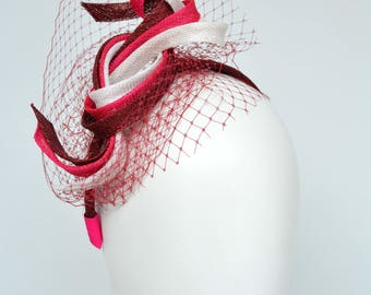 Headband Fascinator with twisted Sinamay ribbons , modern , with veiling