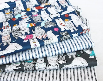 cut 4 x 160x50cm stripe pattern fabric 100% cotton patchwork bear geometric animal
