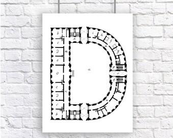 Blueprint art etsy large letter monogram initial architecture blueprint art print black and white alphabet personalized malvernweather Image collections