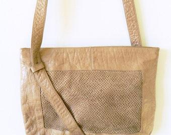 Vintage Taupe Leather Crossbody Bag / Pebbled Leather Shoulder Bag / Vintage Leather Boho Purse