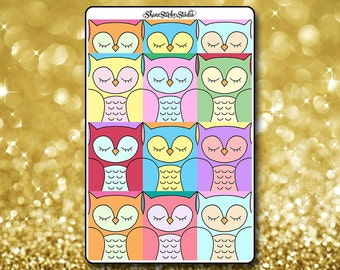 Cute Owl Box Stickers - Owl Planner Stickers Owl Erin Condren Life Planner Sweet Owl Stickers Owl Full Box Stickers ECLP Stickers