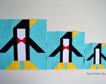 Penguin Quilt Block Pattern, PDF, Instant Download, modern patchwork, animal, polar, festive, holiday