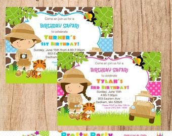 SAFARI BOY or GIRL birthday invitation - You Print - 3 to choose