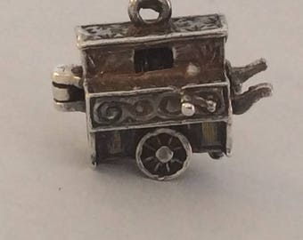 Sterling silver European street organ and monkey charm vintage #686 s