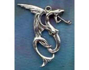 Dramatic Water Dragon Pendant Sterling Silver Fan07