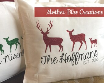 Holiday Personalized Reindeer Family Pillow