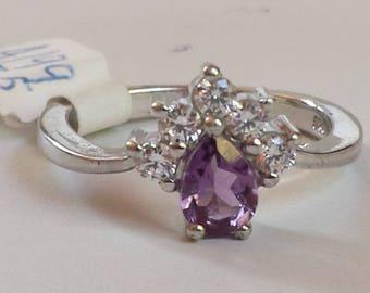 Amethyst Sterling Silver Ring, Rhodium Plated, Natural Gemstone, February Birthstone Ring