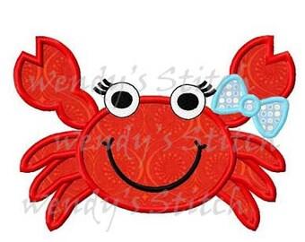 Girl crab applique machine embroidery design digital pattern