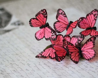 Bright Pink Butterfly Barrette