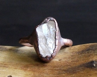 Morganite Ring Raw Natural Stone Crystal Ring Copper Rough Stone Jewelry Ring Size 5 Midwest Alchemy