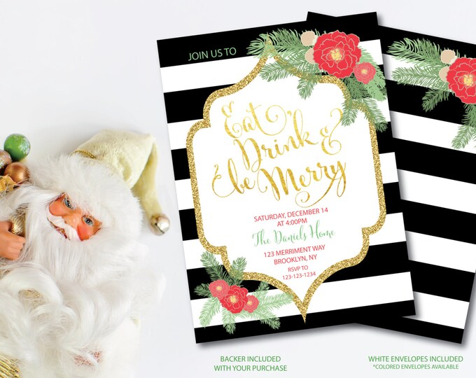 Christmas Party Invitation Christmas Party Invite Black White Stripes Printable Faux Gold Foil Glitter Eat Drink - Holiday Collection