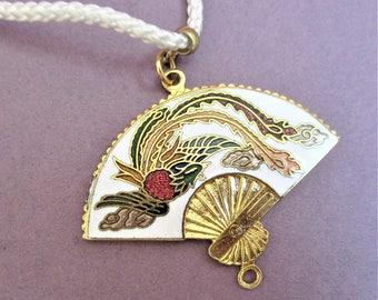 Cloisonne Fan Pendant Gorgeous White Fan Necklace & Pendant Gold Fan White Cord Necklace Vintage Jewelry Bridesmaid Gift Handmade Jewelry