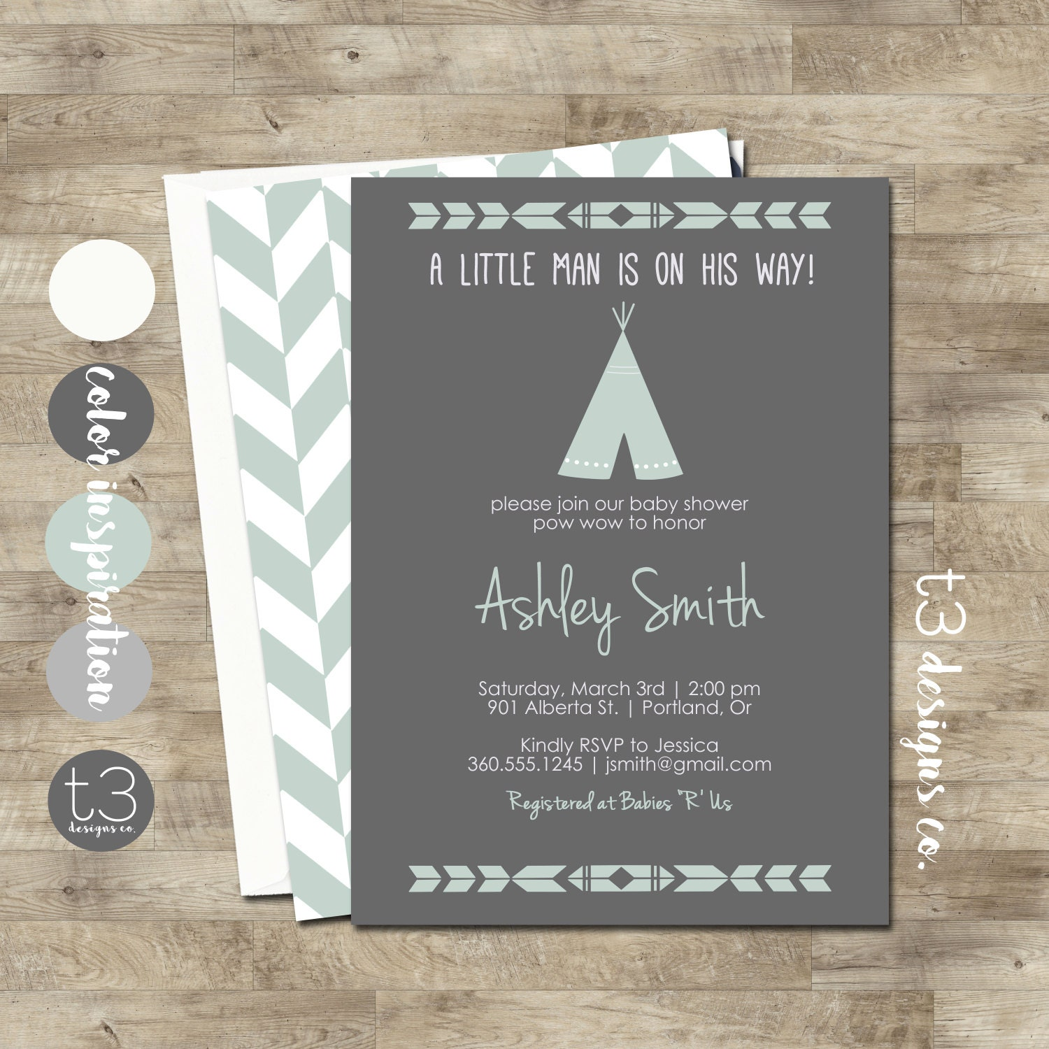 TEEPEE Baby Shower Invitation Indian Baby shower Invite aztec baby