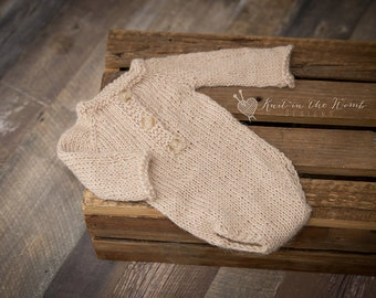 Alpaca Long Sleeve Romper - READY TO SHIP - photo prop earthy newborn