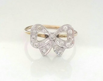 18k diamond bow ring | 14k diamond ring