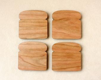 Bread Slice Toast Coasters, Set of 4 in Cherry Wood