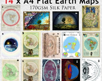 14 x Flat Earth Maps on 170gsm A3 silk paper.