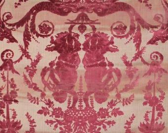 4 yards RARE 18th century Marie Antoinette velvet fabric wall covering wallpaper shabby French Nordic chic floral faded 1700s silk damask