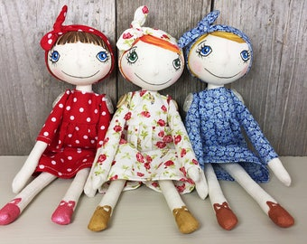 Oh,Zuzana handmade and hand-painted cloth art doll.Red hair, green eyes, white dress with flowers.8.6 inch.