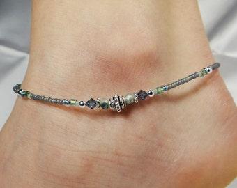Anklet, Ankle Bracelet Sage Green Anklet, Southwestern Anklet Denim Blue Anklet, Crystal Anklet, Beaded Anklet Minimalist Anklet Boho Anklet
